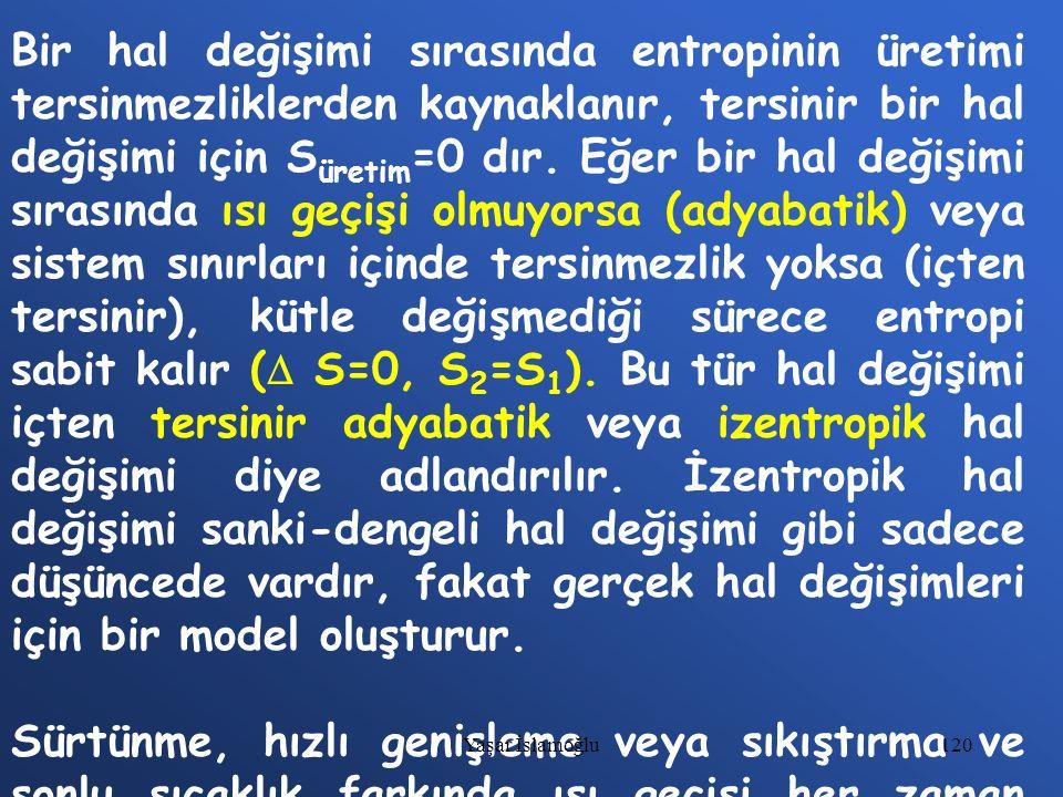 120 Bir hal değişimi sırasında entropinin üretimi tersinmezliklerden kaynaklanır, tersinir bir hal değişimi için S üretim =0 dır. Eğer bir hal değişim