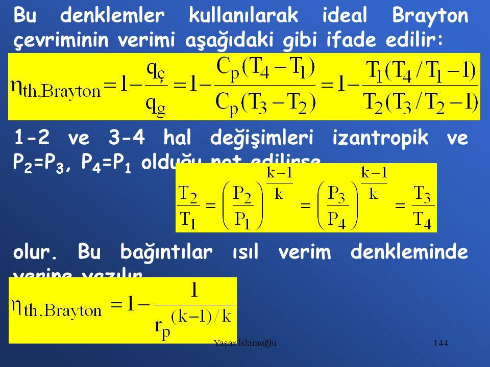 144 Bu denklemler kullanılarak ideal Brayton çevriminin verimi aşağıdaki gibi ifade edilir: 1-2 ve 3-4 hal değişimleri izantropik ve P 2 =P 3, P 4 =P