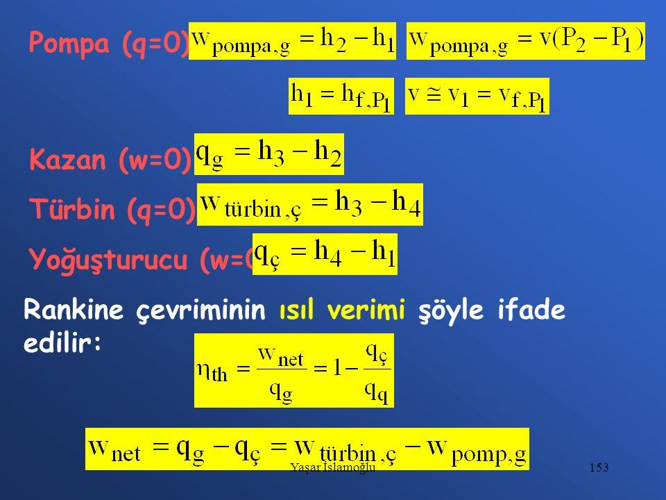 153 Pompa (q=0) Kazan (w=0) Türbin (q=0) Yoğuşturucu (w=0) Rankine çevriminin ısıl verimi şöyle ifade edilir: Yaşar İslamoğlu