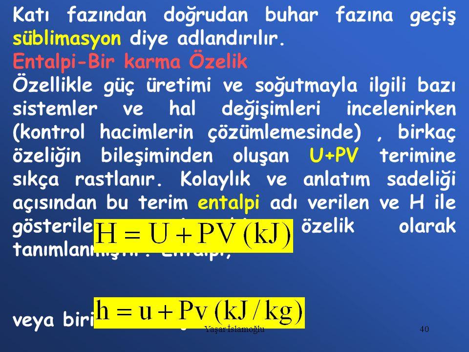 40 Katı fazından doğrudan buhar fazına geçiş süblimasyon diye adlandırılır. Entalpi-Bir karma Özelik Özellikle güç üretimi ve soğutmayla ilgili bazı s