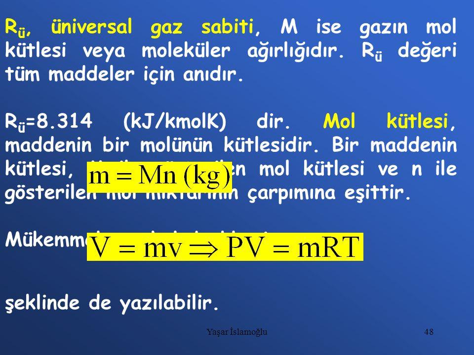 48 R ü, üniversal gaz sabiti, M ise gazın mol kütlesi veya moleküler ağırlığıdır. R ü değeri tüm maddeler için anıdır. R ü =8.314 (kJ/kmolK) dir. Mol