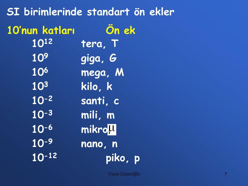 5 SI birimlerinde standart ön ekler 10'nun katlarıÖn ek 10 12 tera, T 10 9 giga, G 10 6 mega, M 10 3 kilo, k 10 -2 santi, c 10 -3 mili, m 10 -6 mikro,