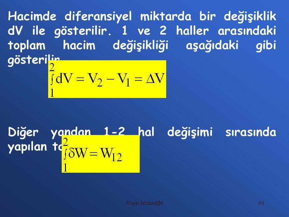 61 Hacimde diferansiyel miktarda bir değişiklik dV ile gösterilir. 1 ve 2 haller arasındaki toplam hacim değişikliği aşağıdaki gibi gösterilir. Diğer