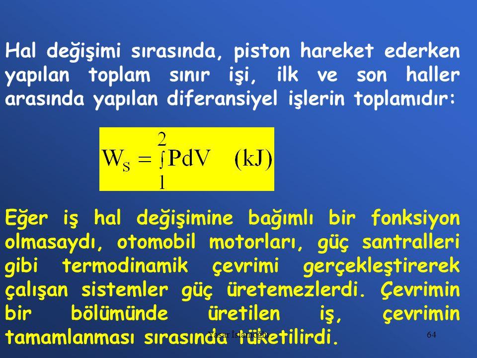64 Hal değişimi sırasında, piston hareket ederken yapılan toplam sınır işi, ilk ve son haller arasında yapılan diferansiyel işlerin toplamıdır: Eğer i