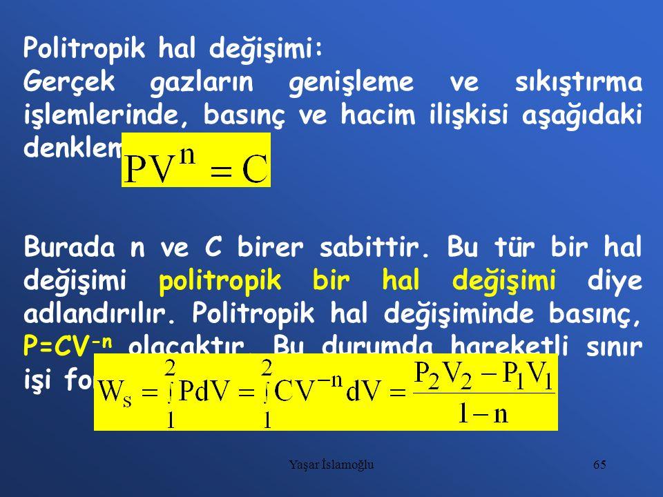 65 Politropik hal değişimi: Gerçek gazların genişleme ve sıkıştırma işlemlerinde, basınç ve hacim ilişkisi aşağıdaki denkleme uyar. Burada n ve C bire