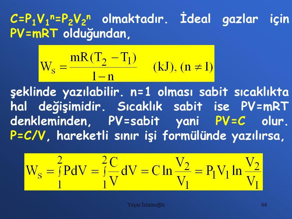 66 C=P 1 V 1 n =P 2 V 2 n olmaktadır. İdeal gazlar için PV=mRT olduğundan, şeklinde yazılabilir. n=1 olması sabit sıcaklıkta hal değişimidir. Sıcaklık