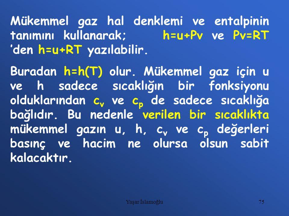 75 Mükemmel gaz hal denklemi ve entalpinin tanımını kullanarak; h=u+Pv ve Pv=RT 'den h=u+RT yazılabilir. Buradan h=h(T) olur. Mükemmel gaz için u ve h