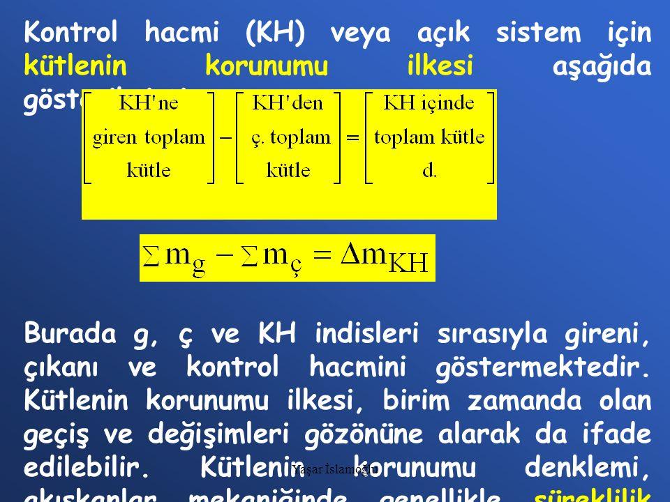 77 Kontrol hacmi (KH) veya açık sistem için kütlenin korunumu ilkesi aşağıda gösterilmiştir. Burada g, ç ve KH indisleri sırasıyla gireni, çıkanı ve k
