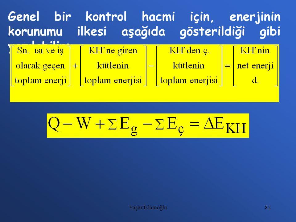 82 Genel bir kontrol hacmi için, enerjinin korunumu ilkesi aşağıda gösterildiği gibi yazılabilir: Yaşar İslamoğlu