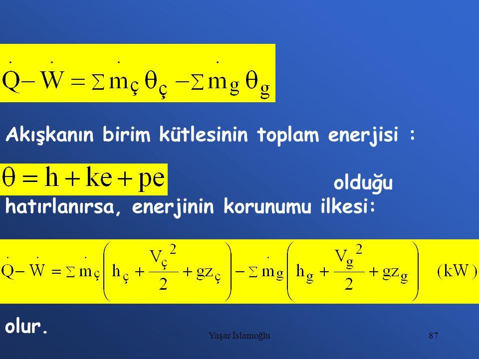 87 Akışkanın birim kütlesinin toplam enerjisi : olduğu hatırlanırsa, enerjinin korunumu ilkesi: olur. Yaşar İslamoğlu