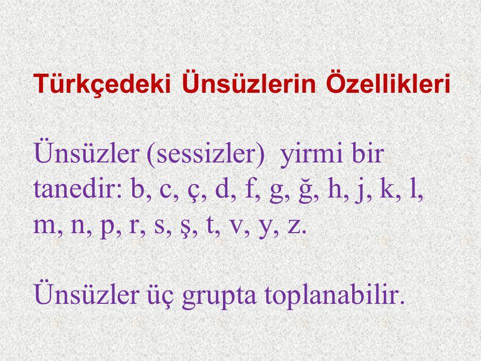 Türkçedeki Ünsüzlerin Özellikleri Ünsüzler (sessizler) yirmi bir tanedir: b, c, ç, d, f, g, ğ, h, j, k, l, m, n, p, r, s, ş, t, v, y, z. Ünsüzler üç g