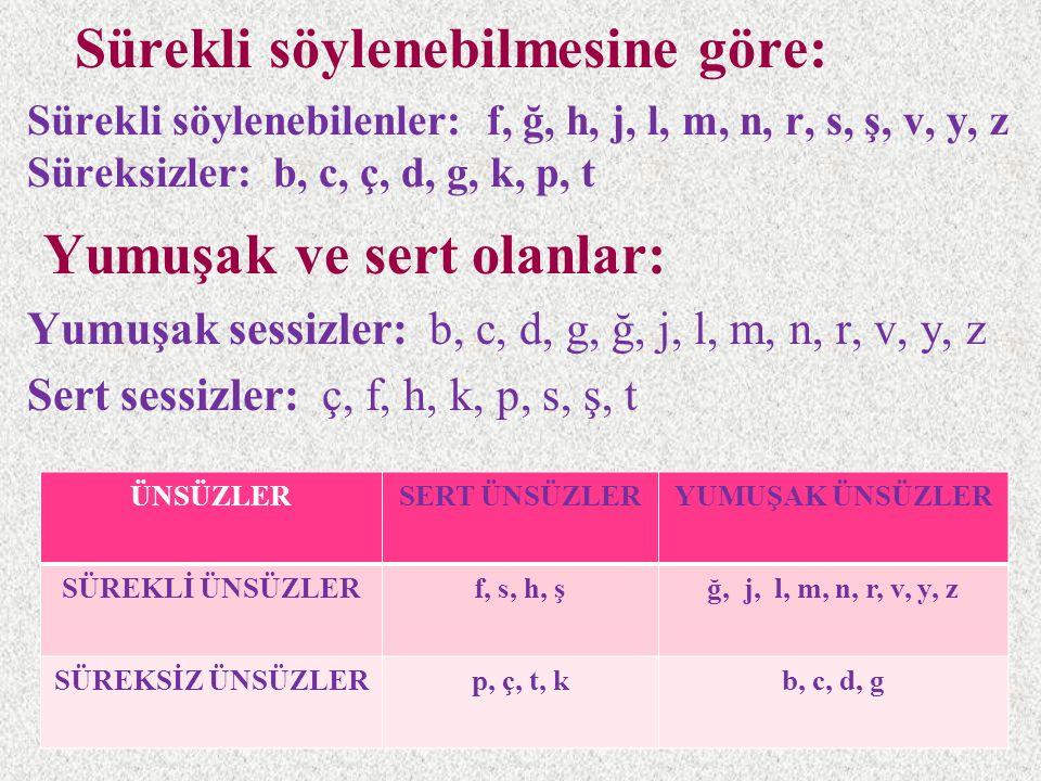 Sürekli söylenebilmesine göre: Sürekli söylenebilenler: f, ğ, h, j, l, m, n, r, s, ş, v, y, z Süreksizler: b, c, ç, d, g, k, p, t Yumuşak ve sert olan