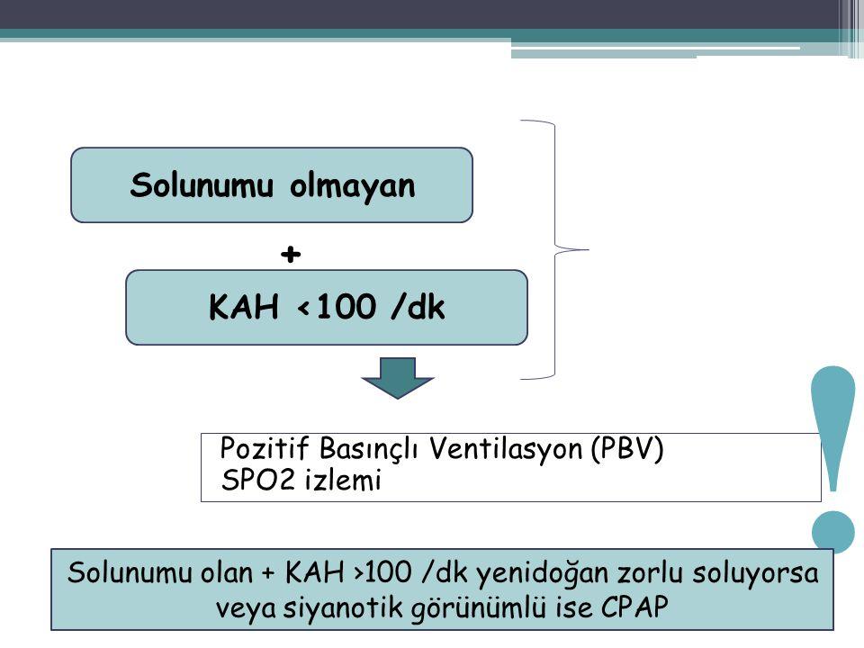 Pozitif Basınçlı Ventilasyon (PBV) SPO2 izlemi 44 Solunumu olmayan KAH <100 /dk + ! Solunumu olan + KAH ›100 /dk yenidoğan zorlu soluyorsa veya siyano