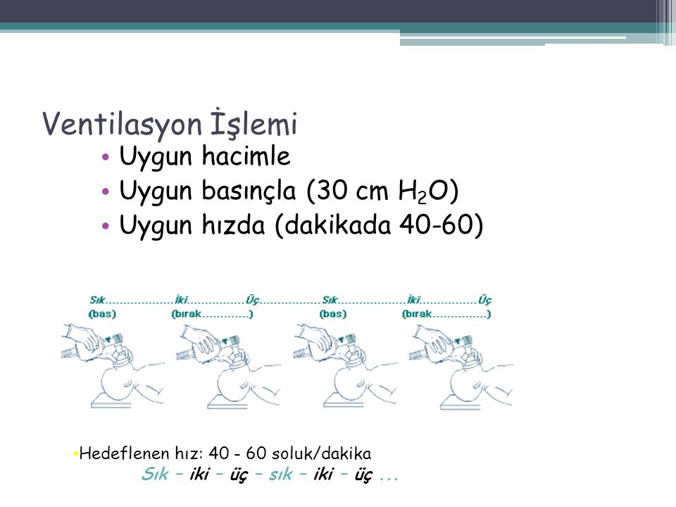Ventilasyon İşlemi Uygun hacimle Uygun basınçla (30 cm H 2 O) Uygun hızda (dakikada 40-60) 54 Hedeflenen hız: 40 - 60 soluk/dakika Sık – iki – üç – sık – iki – üç...