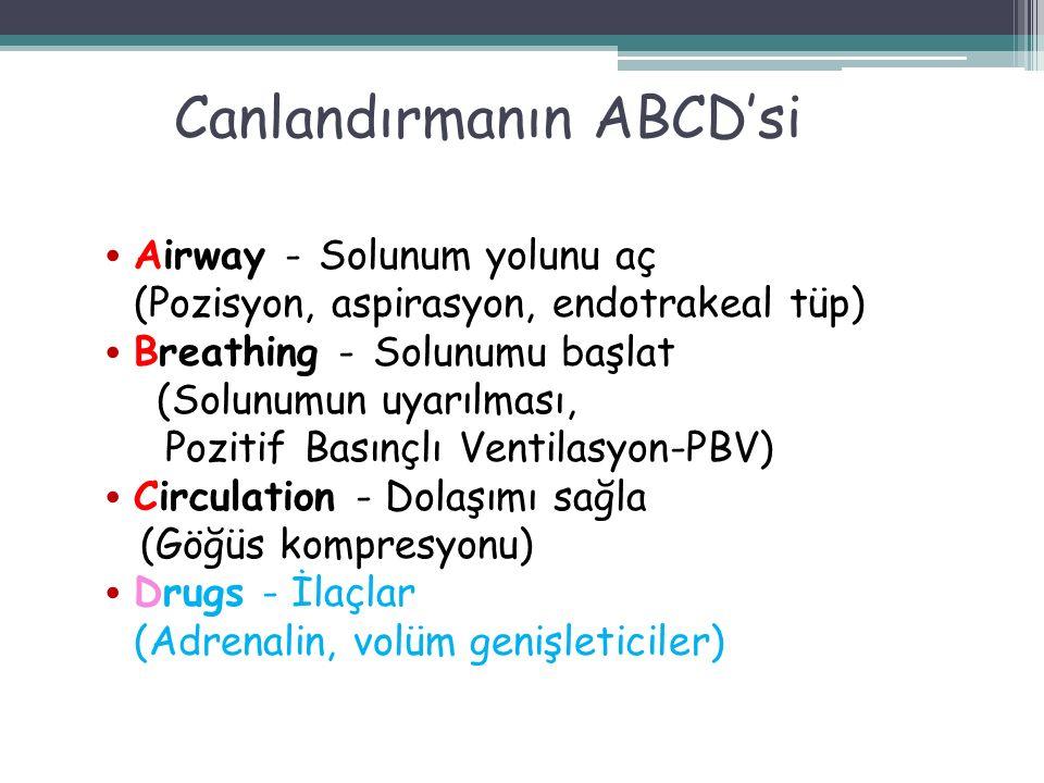 Canlandırmanın ABCD'si Airway - Solunum yolunu aç (Pozisyon, aspirasyon, endotrakeal tüp) Breathing - Solunumu başlat (Solunumun uyarılması, Pozitif Basınçlı Ventilasyon-PBV) Circulation - Dolaşımı sağla (Göğüs kompresyonu) Drugs - İlaçlar (Adrenalin, volüm genişleticiler) 6