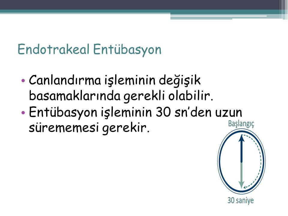 Endotrakeal Entübasyon Canlandırma işleminin değişik basamaklarında gerekli olabilir. Entübasyon işleminin 30 sn'den uzun sürememesi gerekir. 70