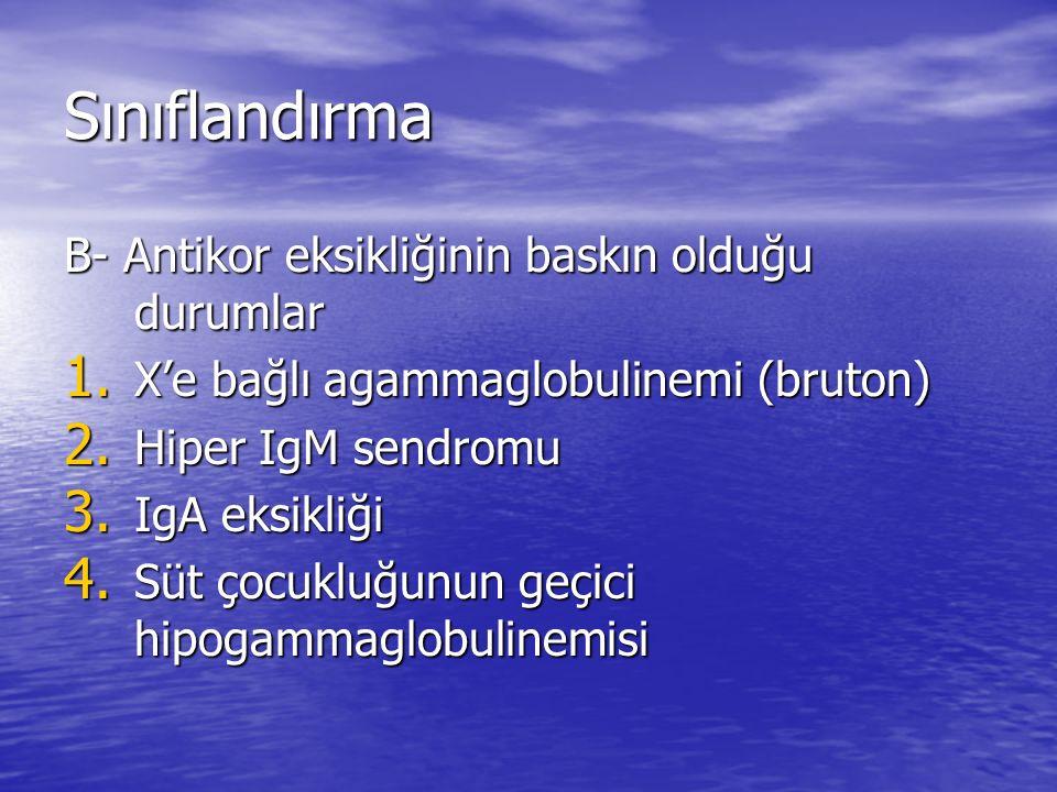 Sınıflandırma B- Antikor eksikliğinin baskın olduğu durumlar 1. X'e bağlı agammaglobulinemi (bruton) 2. Hiper IgM sendromu 3. IgA eksikliği 4. Süt çoc