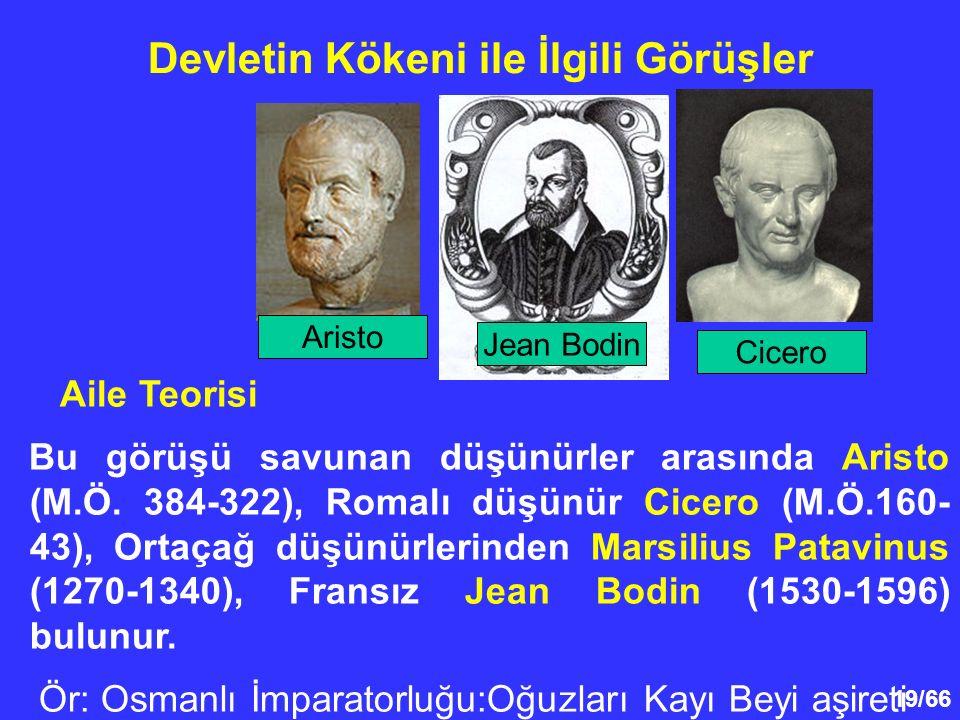 19/66 Devletin Kökeni ile İlgili Görüşler Aile Teorisi Bu görüşü savunan düşünürler arasında Aristo (M.Ö.
