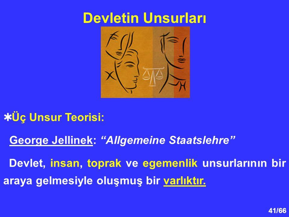 41/66 Devletin Unsurları  Üç Unsur Teorisi: George Jellinek: Allgemeine Staatslehre Devlet, insan, toprak ve egemenlik unsurlarının bir araya gelmesiyle oluşmuş bir varlıktır.