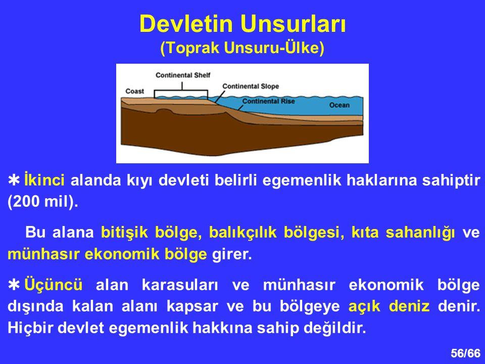 56/66 Devletin Unsurları (Toprak Unsuru-Ülke)  İkinci alanda kıyı devleti belirli egemenlik haklarına sahiptir (200 mil).