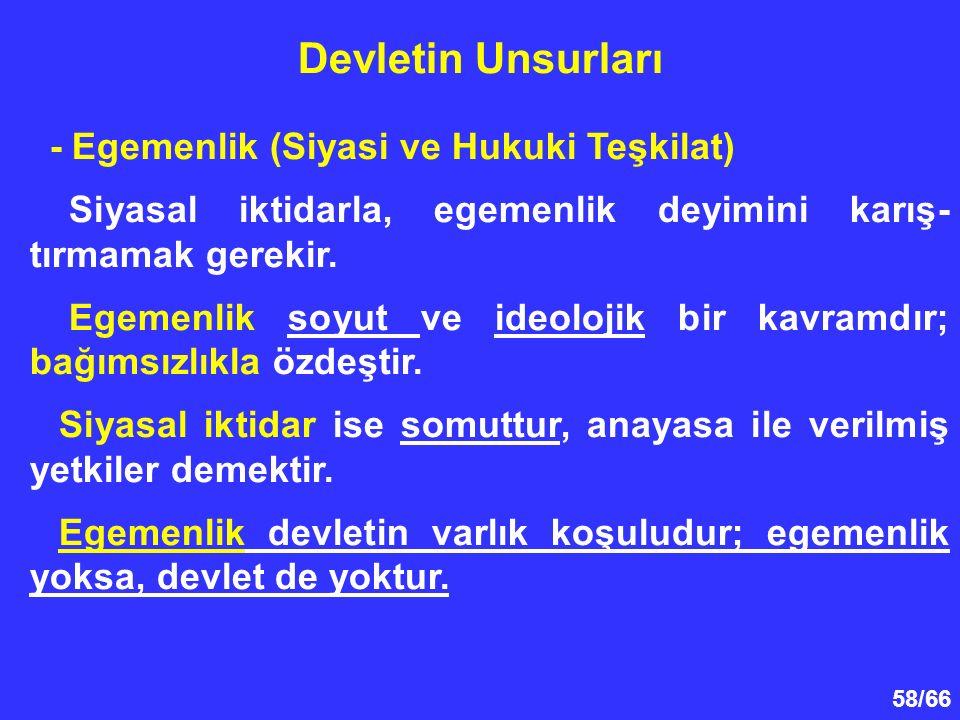 58/66 - Egemenlik (Siyasi ve Hukuki Teşkilat) Siyasal iktidarla, egemenlik deyimini karış- tırmamak gerekir.