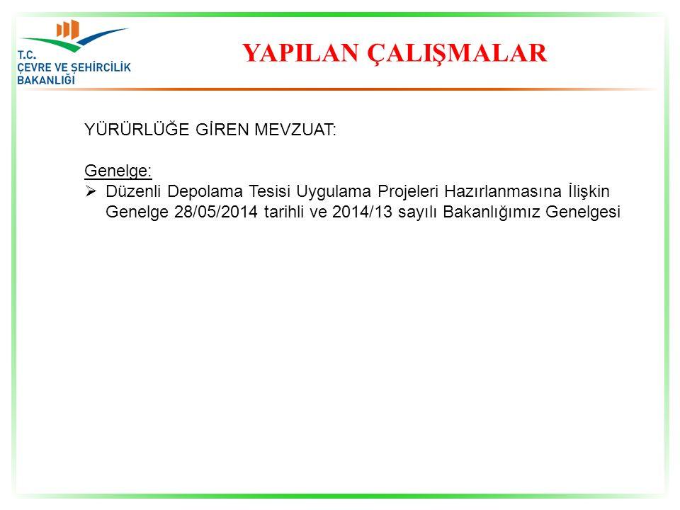 YAPILAN ÇALIŞMALAR YÜRÜRLÜĞE GİREN MEVZUAT: Genelge:  Düzenli Depolama Tesisi Uygulama Projeleri Hazırlanmasına İlişkin Genelge 28/05/2014 tarihli ve