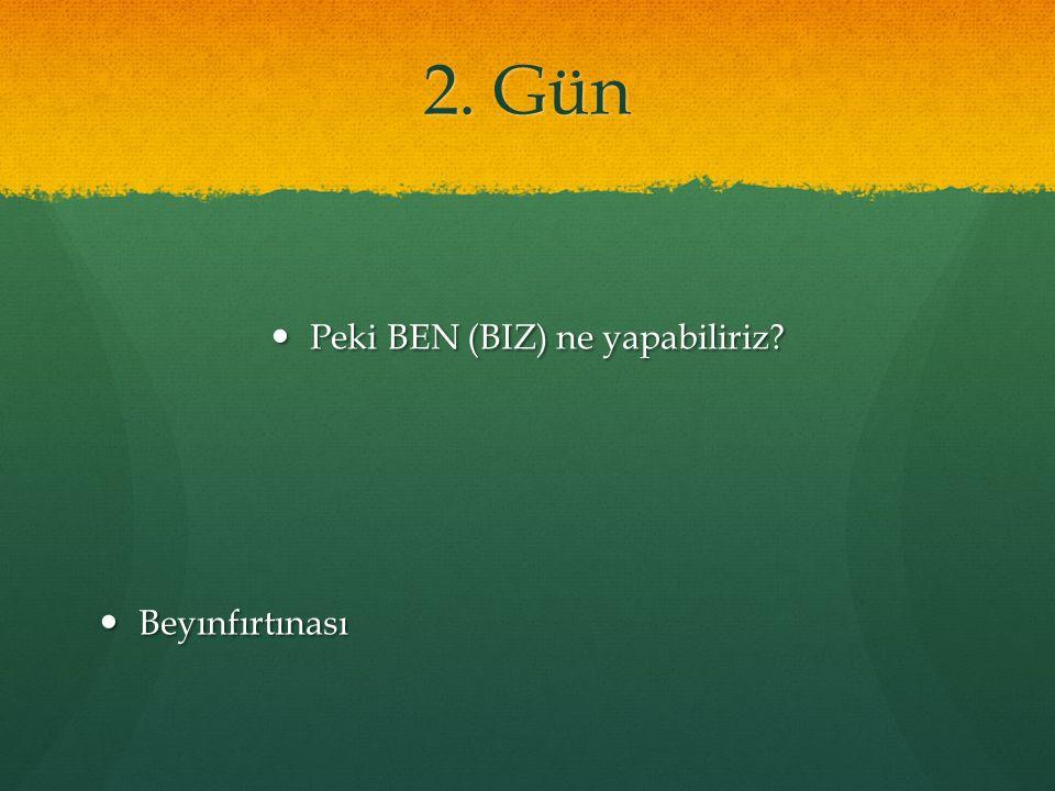 2. Gün Peki BEN (BIZ) ne yapabiliriz Peki BEN (BIZ) ne yapabiliriz Beyınfırtınası Beyınfırtınası
