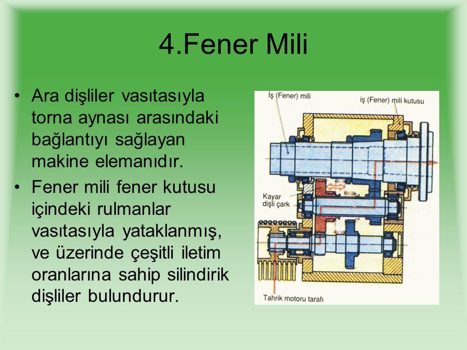 4.Fener Mili Ara dişliler vasıtasıyla torna aynası arasındaki bağlantıyı sağlayan makine elemanıdır. Fener mili fener kutusu içindeki rulmanlar vasıta