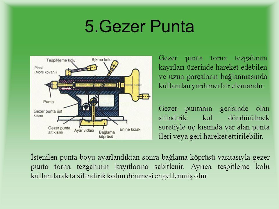 Gezer punta torna tezgahının kayıtları üzerinde hareket edebilen ve uzun parçaların bağlanmasında kullanılan yardımcı bir elemandır. Gezer puntanın ge