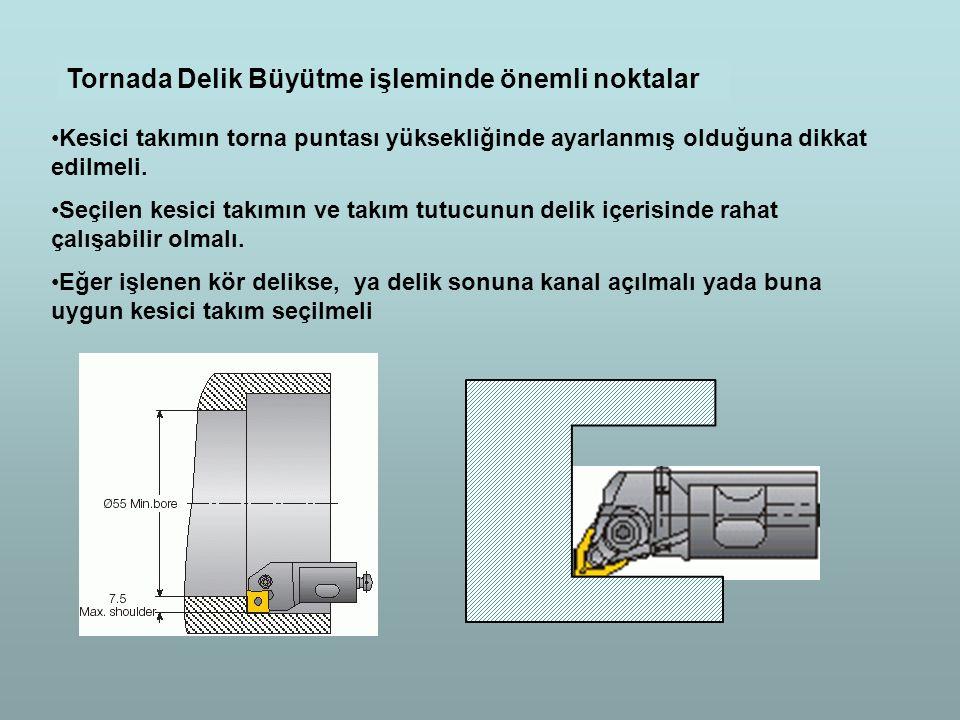 Tornada Delik Büyütme işleminde önemli noktalar Kesici takımın torna puntası yüksekliğinde ayarlanmış olduğuna dikkat edilmeli. Seçilen kesici takımın