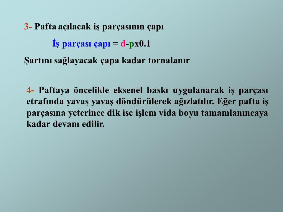 3- Pafta açılacak iş parçasının çapı İş parçası çapı = d-px0.1 Şartını sağlayacak çapa kadar tornalanır 4- Paftaya öncelikle eksenel baskı uygulanarak