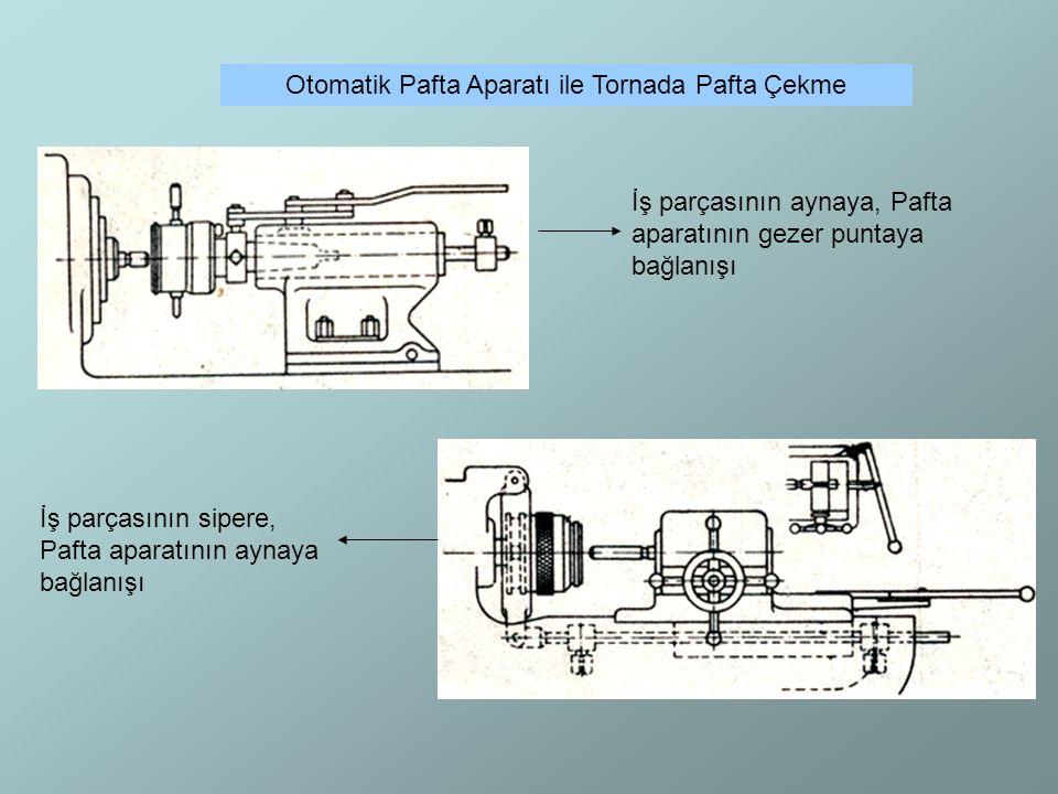 Otomatik Pafta Aparatı ile Tornada Pafta Çekme İş parçasının aynaya, Pafta aparatının gezer puntaya bağlanışı İş parçasının sipere, Pafta aparatının a