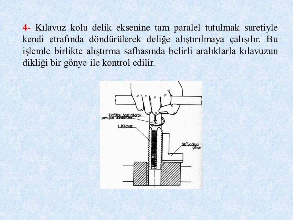 4- Kılavuz kolu delik eksenine tam paralel tutulmak suretiyle kendi etrafında döndürülerek deliğe alıştırılmaya çalışılır. Bu işlemle birlikte alıştır