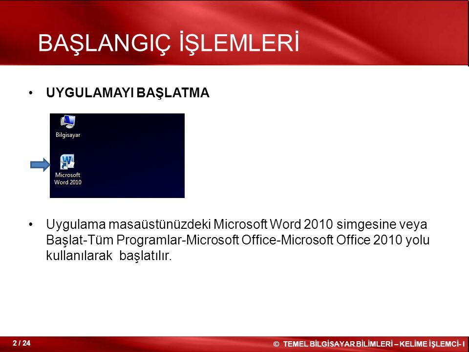 UYGULAMAYI BAŞLATMA Uygulama masaüstünüzdeki Microsoft Word 2010 simgesine veya Başlat-Tüm Programlar-Microsoft Office-Microsoft Office 2010 yolu kull
