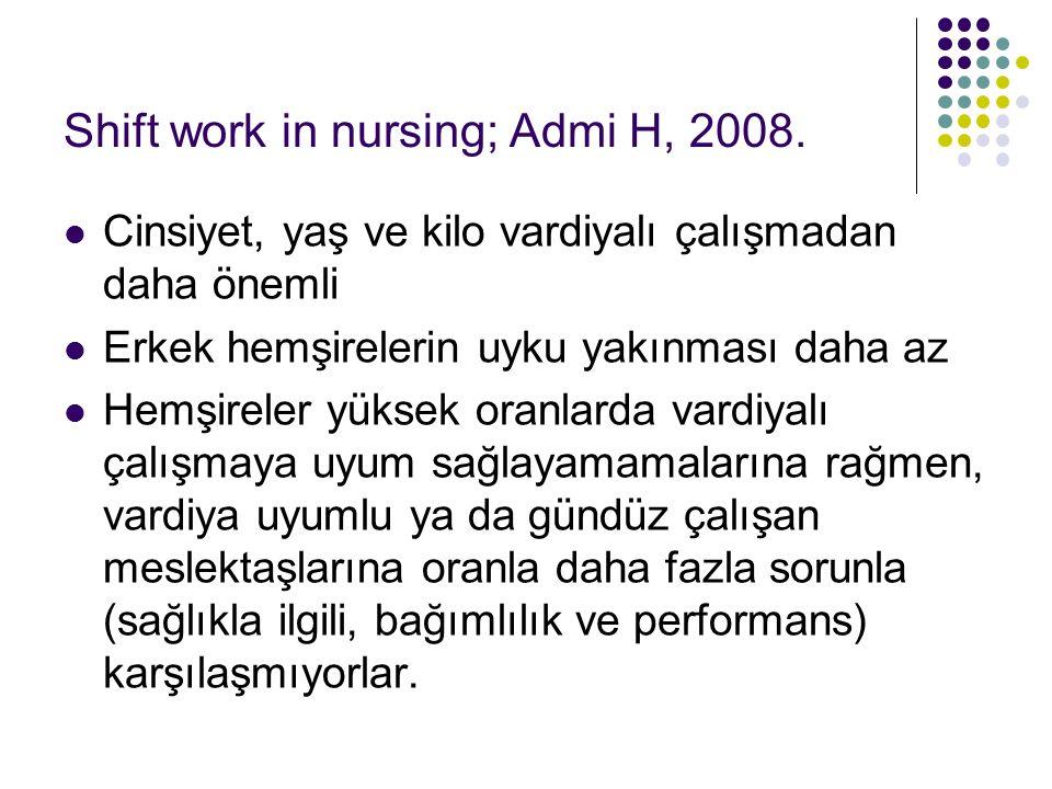 Shift work in nursing; Admi H, 2008. Cinsiyet, yaş ve kilo vardiyalı çalışmadan daha önemli Erkek hemşirelerin uyku yakınması daha az Hemşireler yükse