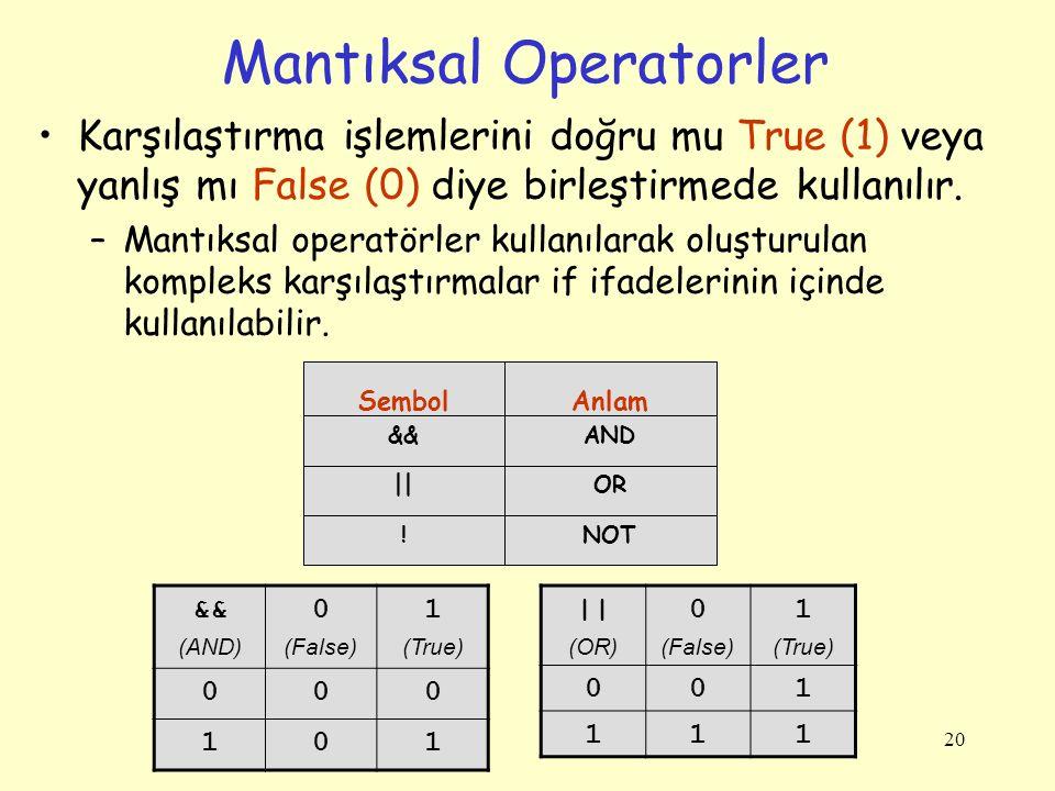20 Mantıksal Operatorler Karşılaştırma işlemlerini doğru mu True (1) veya yanlış mı False (0) diye birleştirmede kullanılır. –Mantıksal operatörler ku
