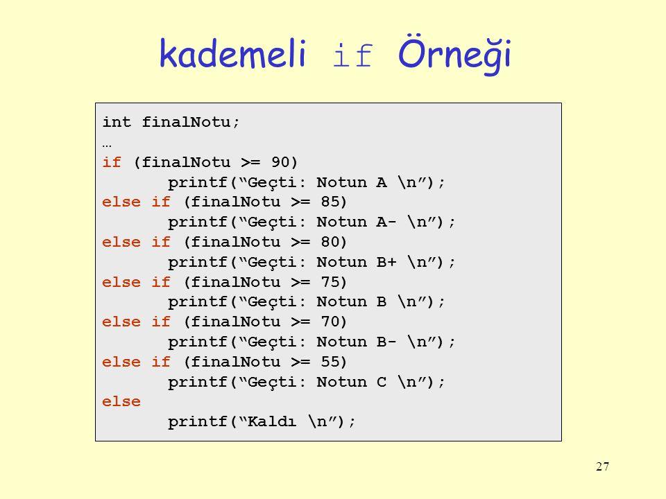 "27 kademeli if Örneği int finalNotu; … if (finalNotu >= 90) printf(""Geçti: Notun A \n""); else if (finalNotu >= 85) printf(""Geçti: Notun A- \n""); else"