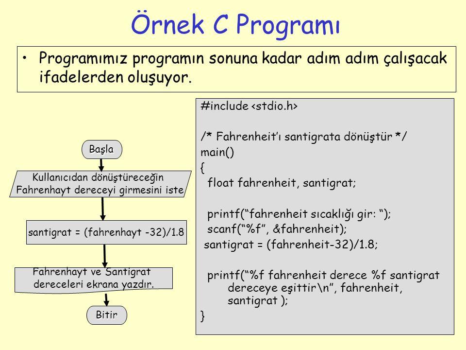 """3 Örnek C Programı #include /* Fahrenheit'ı santigrata dönüştür */ main() { float fahrenheit, santigrat; printf(""""fahrenheit sıcaklığı gir: """"); scanf("""""""