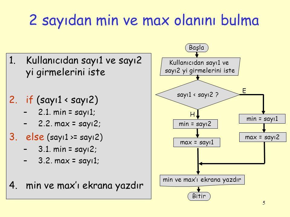 5 2 sayıdan min ve max olanını bulma Kullanıcıdan sayı1 ve sayı2 yi girmelerini iste min ve max'ı ekrana yazdır sayı1 < sayı2 ? min = sayı1 E max = sa