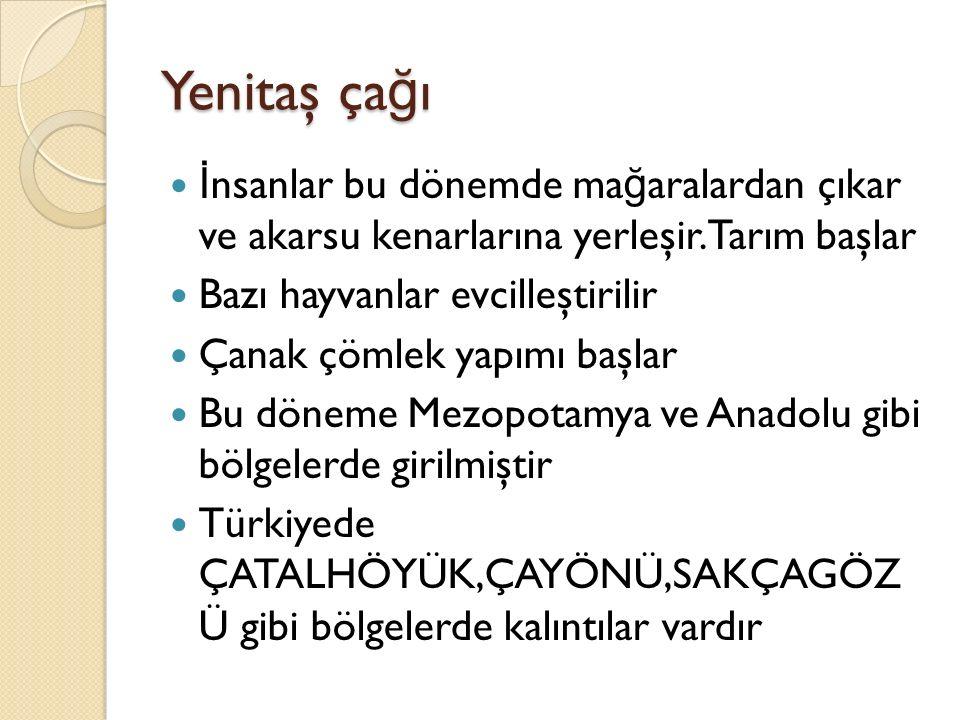 ÇATALHÖYÜK Çatalhöyük dünyanın ilk kent-şehir yerleşim yeridir (KONYA-ÇUMRA) Çayönü:Güney Do ğ u Avrupanın en eski tarımsal üretim yeridir(D İ YARBAKIR- ERGAN İ ) MADEN ÇA Ğ I MÖ 5500-1200 İ nsanlar madeni kullanmaya başlar ilk kullanılan maden bakırdır Türkiyede bu döneme ait