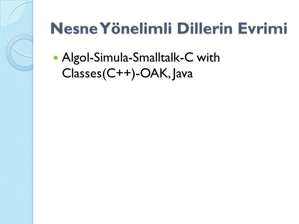 Nesne Yönelimli Dillerin Evrimi Algol-Simula-Smalltalk-C with Classes(C++)-OAK, Java