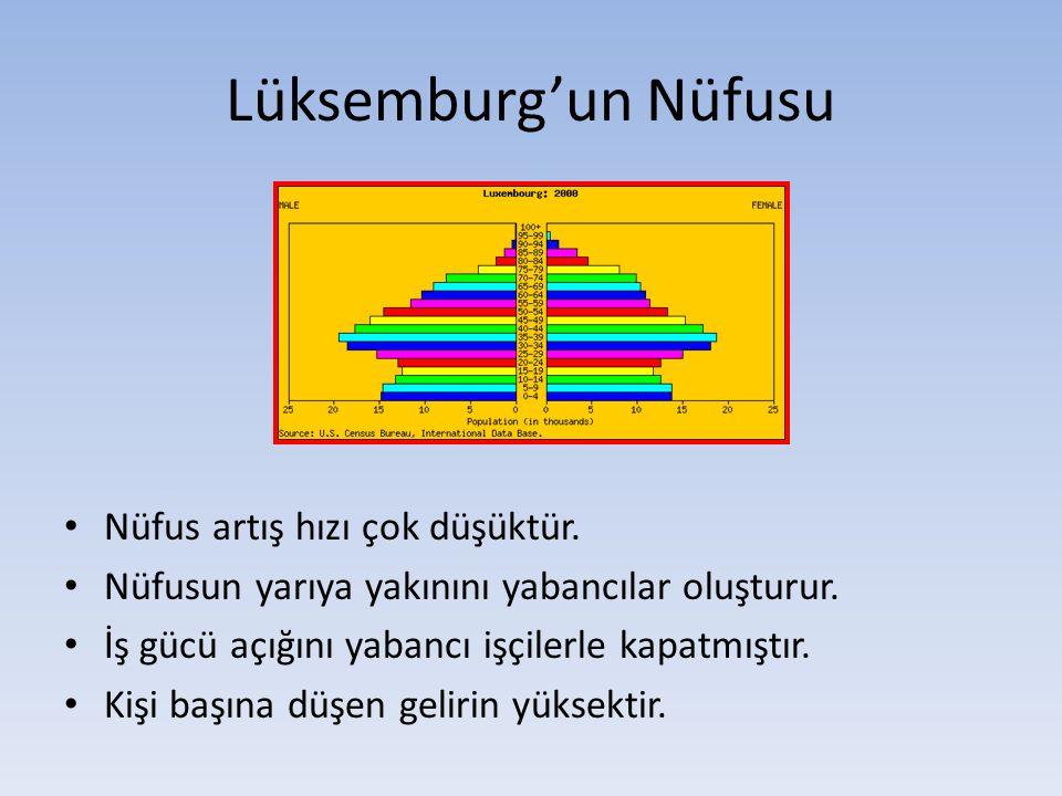 Lüksemburg'un Nüfusu Nüfus artış hızı çok düşüktür. Nüfusun yarıya yakınını yabancılar oluşturur. İş gücü açığını yabancı işçilerle kapatmıştır. Kişi