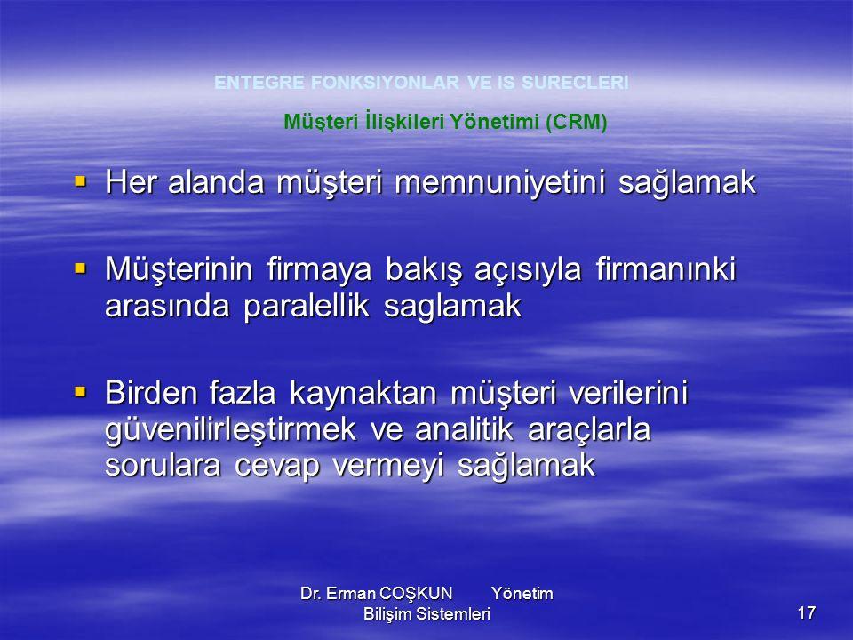 Dr. Erman COŞKUN Yönetim Bilişim Sistemleri17 ENTEGRE FONKSIYONLAR VE IS SURECLERI  Her alanda müşteri memnuniyetini sağlamak  Müşterinin firmaya ba