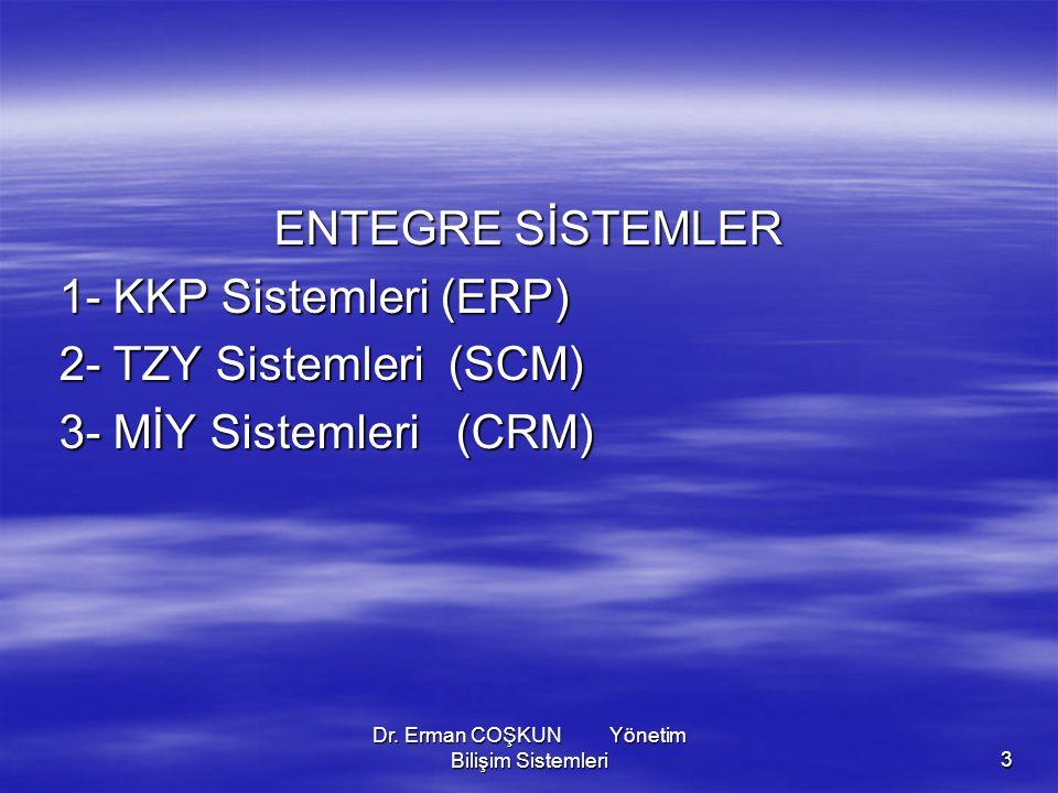 Dr. Erman COŞKUN Yönetim Bilişim Sistemleri3 ENTEGRE SİSTEMLER 1- KKP Sistemleri (ERP) 1- KKP Sistemleri (ERP) 2- TZY Sistemleri (SCM) 2- TZY Sistemle