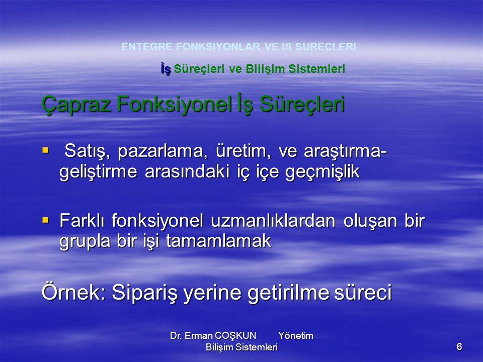 Dr. Erman COŞKUN Yönetim Bilişim Sistemleri6 ENTEGRE FONKSIYONLAR VE IS SURECLERI Çapraz Fonksiyonel İş Süreçleri  Satış, pazarlama, üretim, ve araşt