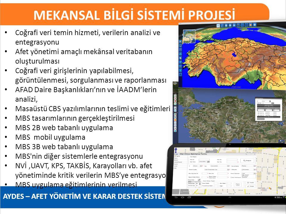 AYDES – AFET YÖNETİM VE KARAR DESTEK SİSTEMİ MEKANSAL BİLGİ SİSTEMİ PROJESİ Coğrafi veri temin hizmeti, verilerin analizi ve entegrasyonu Afet yönetim
