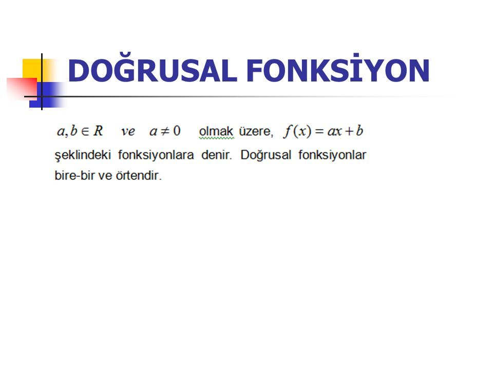 DOĞRUSAL FONKSİYON