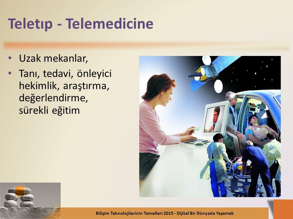 Teletıp - Telemedicine Uzak mekanlar, Tanı, tedavi, önleyici hekimlik, araştırma, değerlendirme, sürekli eğitim Bilişim Teknolojilerinin Temelleri 201