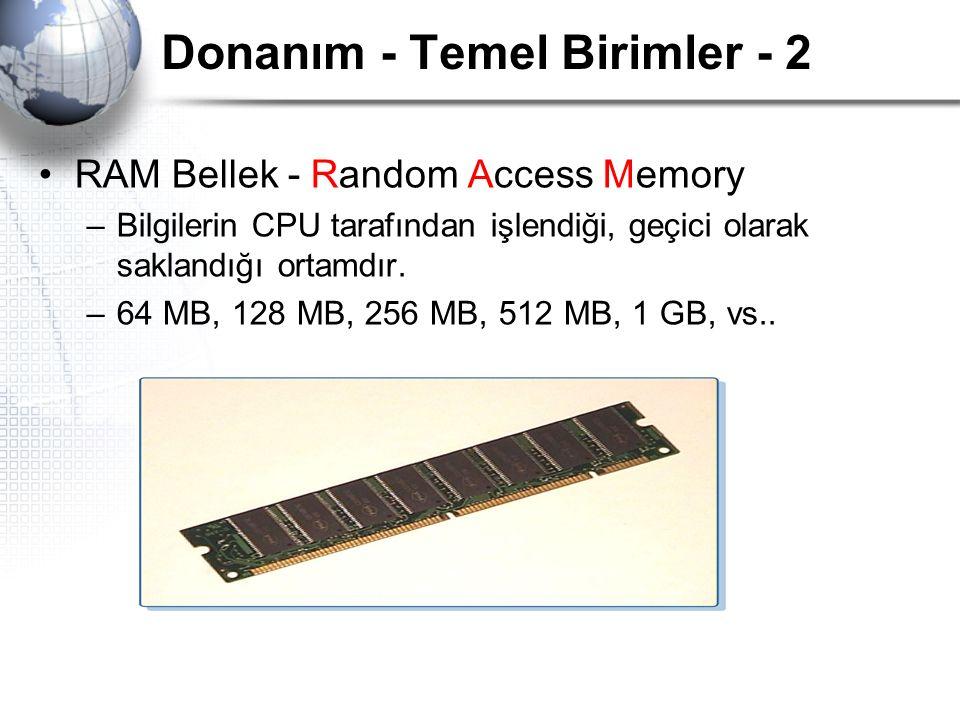 Donanım - Temel Birimler - 2 RAM Bellek - Random Access Memory –Bilgilerin CPU tarafından işlendiği, geçici olarak saklandığı ortamdır. –64 MB, 128 MB
