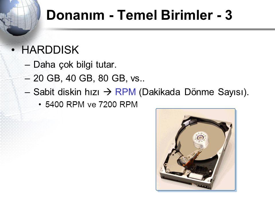 Donanım - Temel Birimler - 3 HARDDISK –Daha çok bilgi tutar. –20 GB, 40 GB, 80 GB, vs.. –Sabit diskin hızı  RPM (Dakikada Dönme Sayısı). 5400 RPM ve